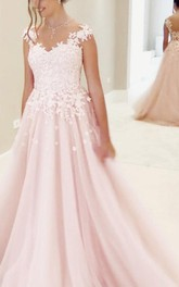 Gorgeous A-line Lace Bodice Tulle Long Prom Dress Evening Dress