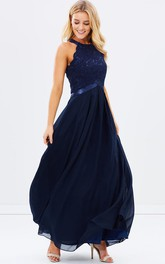 A-Line Appliqued Sleeveless Ankle-Length Scoop Chiffon Bridesmaid Dress With Zipper Back And Pleats