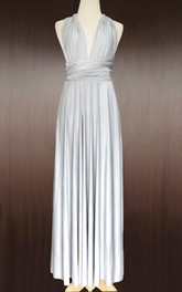 Maxi Silver Bridesmaid Convertible Wrap Wedding Full Length Prom Twist Wrap Dress