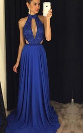 Newest High Neck Royal Blue Prom Dress 2018 Lace A-line