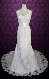 Queen Anne Sleeveless Sheath Lace Wedding Dress With Sash And Keyhole Back