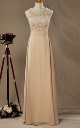 Illusion Lace Top Chiffon Bridesmaid Dress