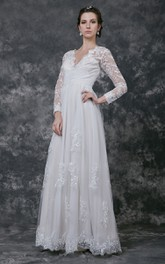V-neck Ruched Chiffon Dress With Illusion Sleeve