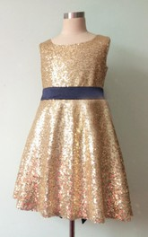 Sleeveless Jewel Neck Sequin Dress With Bow and Keyhole