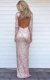 Stunning Long Sleeve Sequins Prom Dresses 2018 Open Back Hi-Lo Evening Gowns