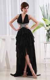 Plunged Sleeveless High-Low Dress With Beading and Cascading Ruffles