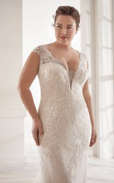 Lace Plunging V-neck Elegant Detachable Plus Size Cap Sleeve Bridal Gown