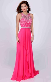 Jeweled Neck Sleeveless A-Line Chiffon Prom Dress With Front Draping