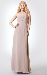Sweetheart A-line Long Chiffon Dress With Bandage and Flower