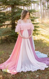 Off-the-shoulder A-line Mulit Color Chiffon Maternity Dress