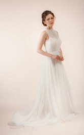 Long Sleeveless A-Line Tulle Wedding Dress With Sheer Back