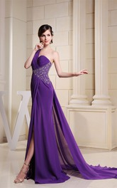 One-Shoulder Front-Split Long Dress with Ruching and Side Beading