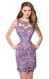 Sheath Sleeveless Lace Keyhole Back Homecoming Dress Featuring Bateau Neck