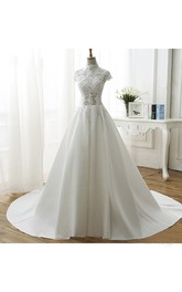 Appliqued Ball Gown Illusion Wedding Dress With High Neck And Beadings