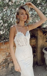 Lace Spaghetti Straps Simple Trumpt Sleeveless Bridal Gown With Court Train