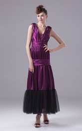 Sleeveless Square-Neckline Ruched A-Line Gown with Cinched Band and Beadings
