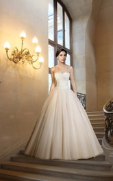 Royal Strapless Lace and Organza Wedding Ball Gown