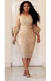 Scalloped Lace Vintage Bodycon Sexy Plus Size Knee-length 3-4 Length Sleeve Puff Balloon Dress