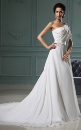 Ethereal A-Line Chiffon Gown With Sating Sash And Ruching