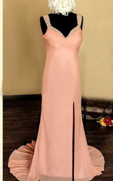 Strapped Sweep Train Chiffon&Satin Dress With Beading