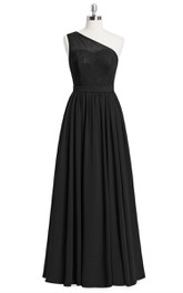 Chiffon A-Line One-Shoulder Dress With Lace Bodice and Pleated Skirt