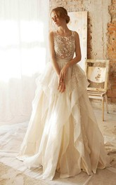 Floor-Length Organza Taffeta Floral Lace Embroidered Wedding Dress