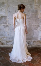 Spaghetti Empire Sleeveless Long Chiffon Wedding Dress With Criss Cross
