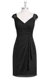 V-Neck Sheath Chiffon Dress With Cap Sleeves and Side Draping