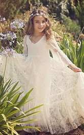 Bell Sleeves Bohemian Simple Flower Girl Dress With Lace