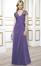 Ruched V-Neck Cap Sleeve Jersey Mother Of The Bride Dress With Beading