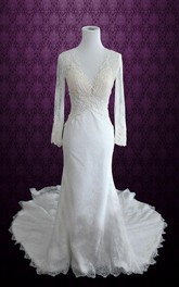 Scalloped Long Illusion Sleeve Keyhole Back Sheath Lace Wedding Dress