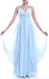 Long V-neck Chiffon Dress With Beading&Ruffles