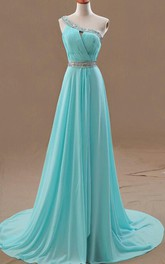 One-shoulder Long A-line Chiffon Wedding Dress With Ruching And Beading