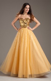 sweetheart ball a-line gown with pleats and sequined top