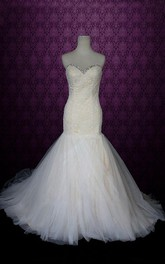 Sweetheart Neck Lace-Up Back Mermaid Tulle Wedding Dress With Crystal Detailing