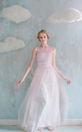 A-Line Maxi Tulle Weddig Dress With Sash Ribbon