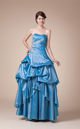 Strapless Pick-Up Ball Gown with Pleats and Appliques