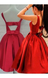 Ball Gown Sleeveless Bow Ruching Tea-length Satin Homecoming Dress