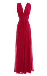V-neckline Long Chiffon Dress With Satin Belt