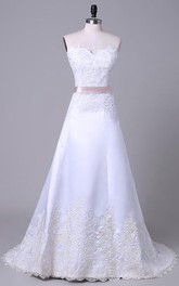 A-Line Tea-Length Off-The-Shoulder One-Shoulder Sweetheart Beading Appliques Sash Chapel Train Lace Sequins Satin Dress