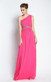 A-Line One-shoulder Sleeveless Floor-length Chiffon Prom Dress with Open Back