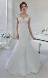 Cap-Sleeve V-Neck Mermaid Floral Wedding Dress With Illusion Back And Sweep Train