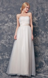 Elegant Strapless A-line Long Tulle Dress With Sash