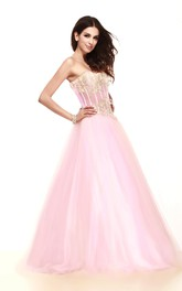 Two-Tone Strapless Tulle A-Line Gown With Lace Appliques
