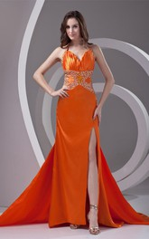Satin Front-Split Ruched Dress with Rhinestone and Halter