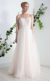 Illusion Sleeveless Tulle Sweetheart A-Line Wedding Dress With Appliques