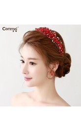 Bride Jewelry Red Crown Headdress Cheongsam Dress Red Wedding Dress Hair Accessories Wedding Accessories