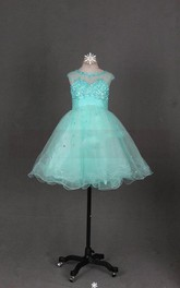 Cap Sleeve Jewel Neck Tulle Dress With Beadings and Illusion