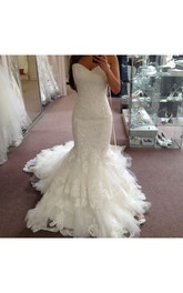 Sleeveless Sweetheart Trumpet Lace Gown With Beaded Detailing
