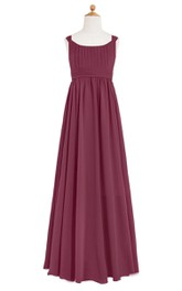 A-Line Pleated Floor Length Chiffon Dress With Cinched Waistband